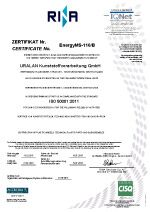 Certificate Energy management system ISO